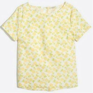 J Crew Printed Pineapple Linen Cotton Print Top